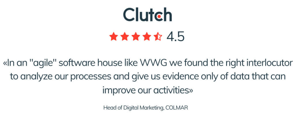 Blog post 2 inside For CLUTCH.CO WWG is one of the best Italian software house in the field of web development, IT services and app development